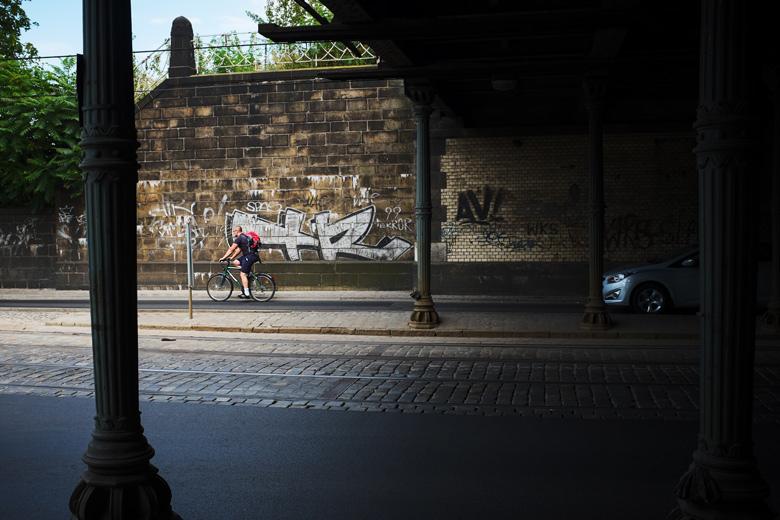 fotografia rowerzysty we Wrocławiu