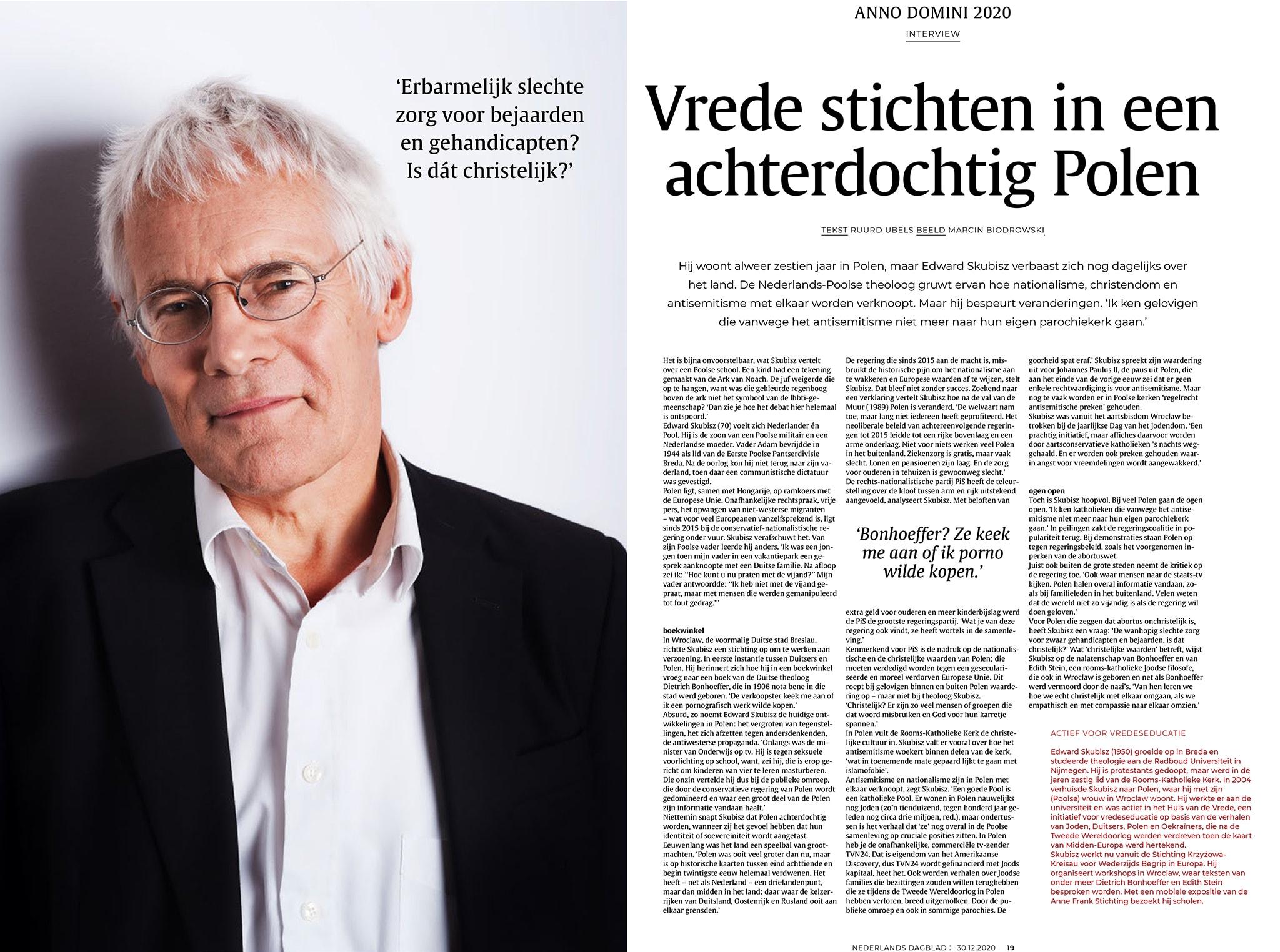 Moje zdjęcie w holenderskiej prasie – portret Edwarda Skubisza